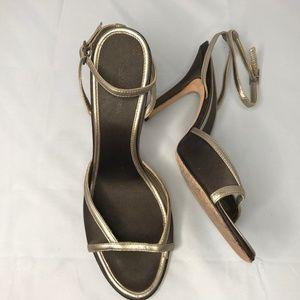 BCBGMaxAzria Leather Peep Toe Ankle Wrap Heels 8
